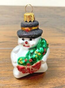 Impuls Hand Painted Mouth Blown Glass Snowman Wreath Christmas Ornament Poland Ebay