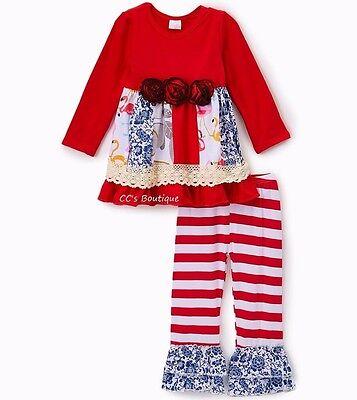 Girls ANN LOREN nautical outfit 12-18-24 2T 3T 4T 5 6 7 8 NWT July 4th ruffle