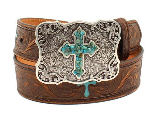 Nocona Western Girl Belt Kids Embossed Scroll Turquoise Cross Brown N4438802