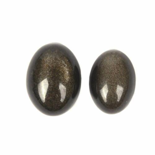 Details about  /14mm 16mm Natural Golden Obsidian Gemstone Oval Flatback CAB Cabochon