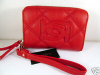 Bebe Quilted Mini Wristlet Wallet Bright Red Zip Around Zipper Closure