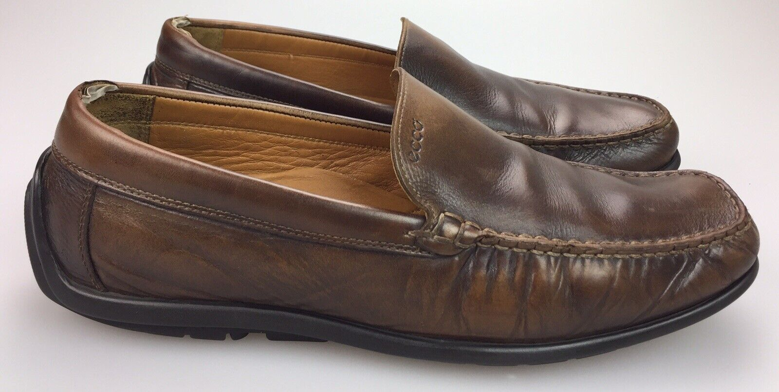 ECCO Brown Leather Moc Toe Casual Driving Loafers shoes Men's 45   11-11.5