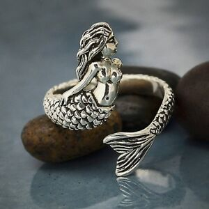 Detailed-Mermaid-Adjustable-Finger-Ring-Ocean-Lover-Gift-Sterling-Silver-925