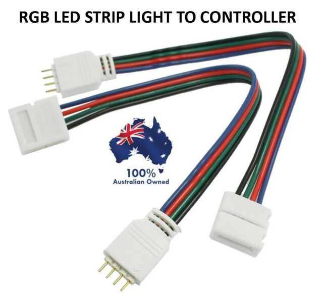 4X 4 PIN RGB LED STRIP LIGHT TO CONTROLLER CONNECTORS WIRE CABLE 10MM 3528 5050