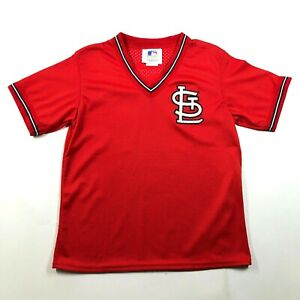 Vintage-90s-NWT-St-Louis-Cardinals-Red-V-Neck-Logo-Mesh-Jersey-Youth-L-14-16