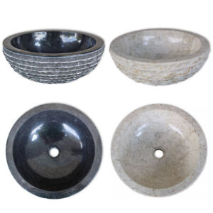 Waschbecken Marmor Aufsatzwaschbecken Waschtisch Handwaschbecken Schwarz//Creme