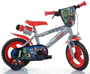 Bicicletta Bambino 12 Pollici Avengers 3 4 5 Anni Pedali Rotelle Freno Borraccia
