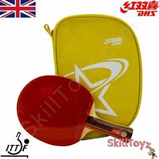 DHS Table Tennis Bat and Yellow Case ITTF R2002 Shakehand  + 2 FREE Protectors!