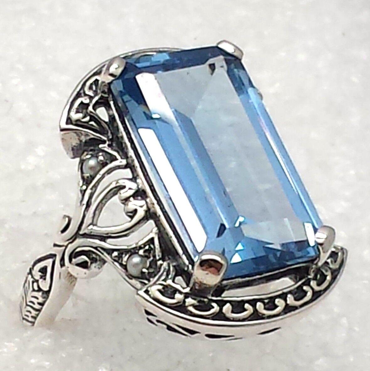 Anillo Aguamarina Perla o Rubí Perla silver de Ley 925