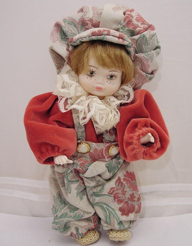 Bambola Ceramica Vintage 26cm abito damascato mm