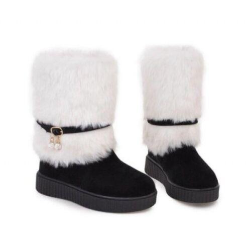 Da Donna Inverno Scarpe Invernali ispessimento Piattaforma Scarpe Con Tacco Med Stivaletti da neve carino data