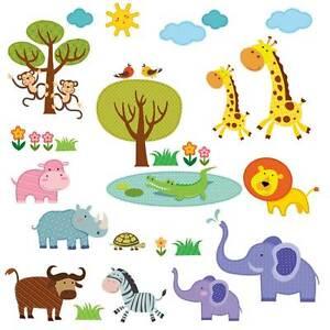 Wandsticker Tiere Kinderzimmer Elefant Zebra Krokodil L We