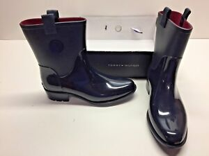 f7cd3b73b44194 Image is loading Tommy-Hilfiger-Khristie-Rubber-Rain-Boots-Navy-Shoes-