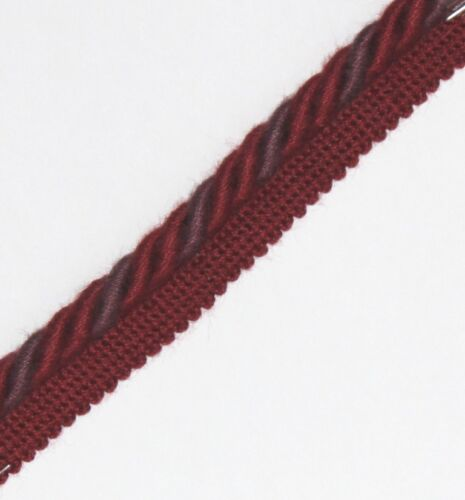 PL-3130 FLANGED BINDING//PIPING 8 MM CORD,BURG//PURPLE X 2,5,10 MTRS,FREE P/&P