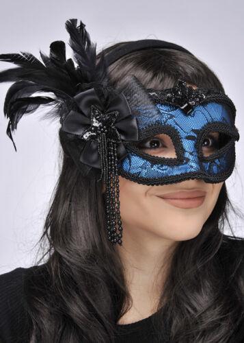 Blue Lace Side Feather Eye Mask