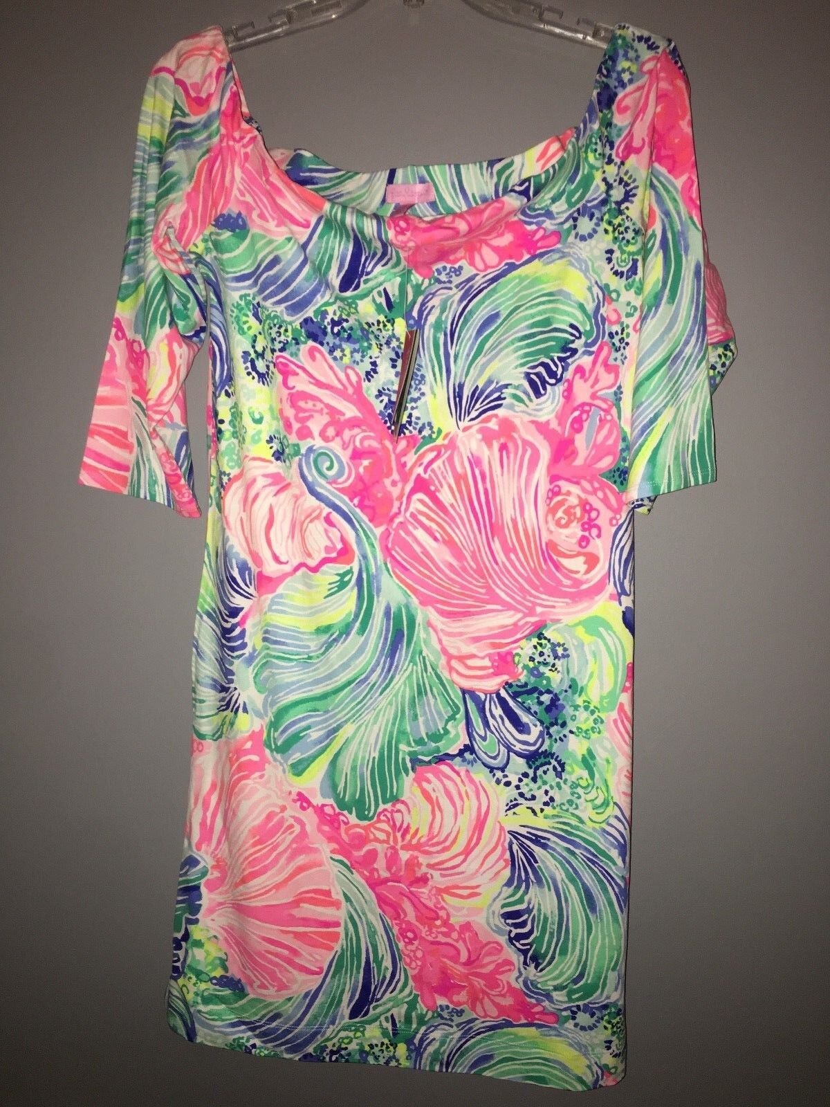 NWT Lilly Pulitzer Laurana Off Shoulder Dress Multi Beach Please LARGE Stretch