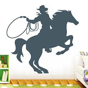 11046 wandtattoo pferd cowboy lasso reiter kinderzimmer comic sticker aufkleber ebay - Wandtattoo cowboy ...
