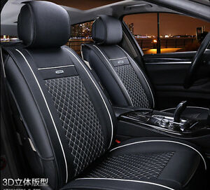 universal pu leather car seat covers car seat cushion cover black white ebay. Black Bedroom Furniture Sets. Home Design Ideas