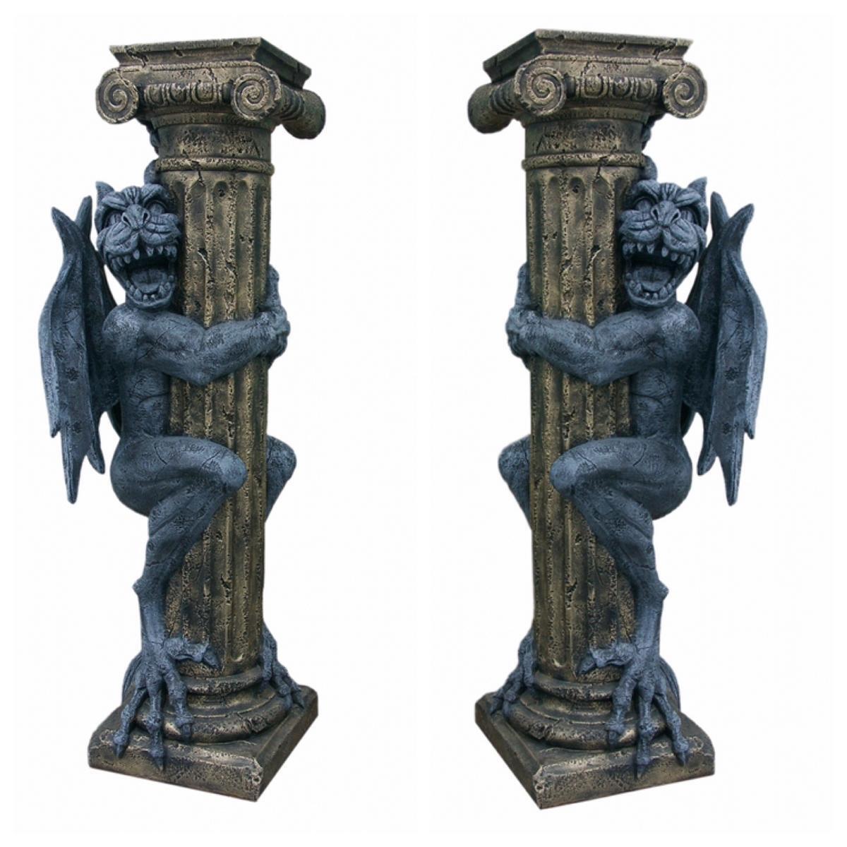 2 x Blaumensäule Dragon Drachenfigur Gothic Mystic Fantasy recht links schauend