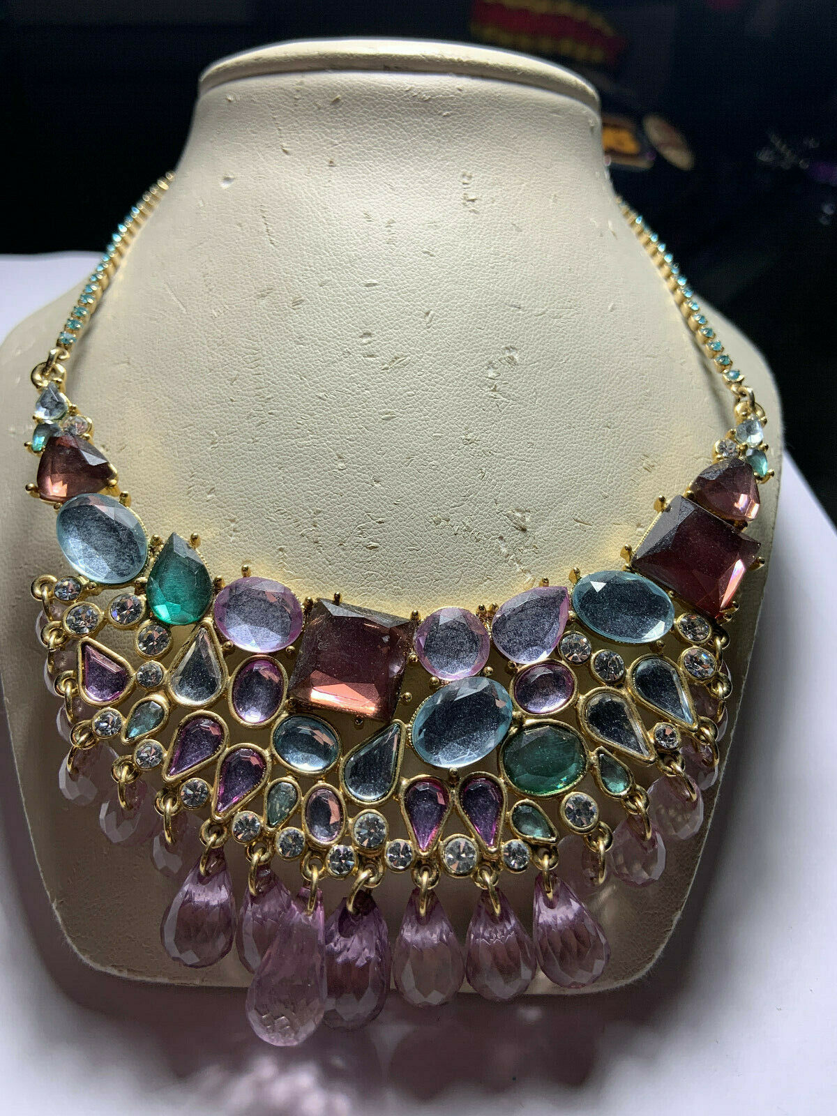 Vintage Arnold Scaasi gold tone multicolored hang… - image 1