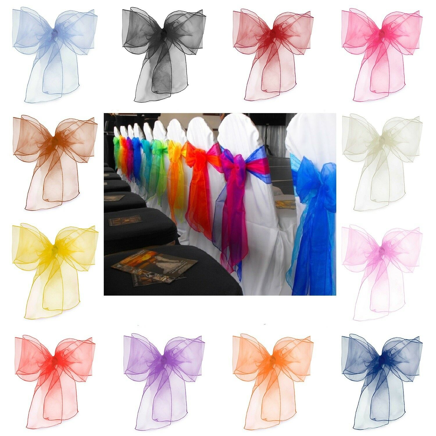 500 Mix Colourot Organza Sashes Chair Cover Fuller Bow Wider Wedding Party Decor