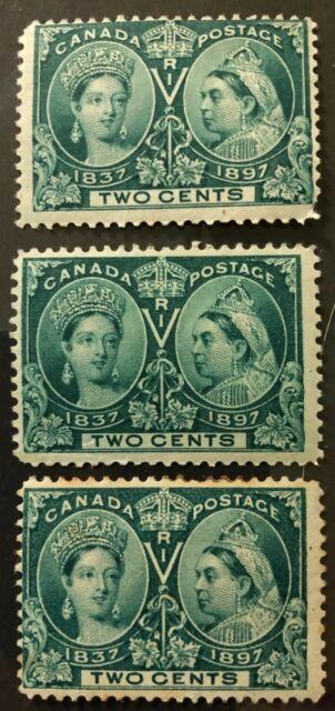 1897- #s 52, 52i- QUEEN VICTORIA JUBILEE- 2c GREEN, DARK GREEN - 3 MINT STAMPS