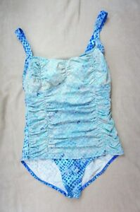 Real Solutions Island Escape Swimsuit Sz 12 D Cup Blue Multi One Piece RP179132