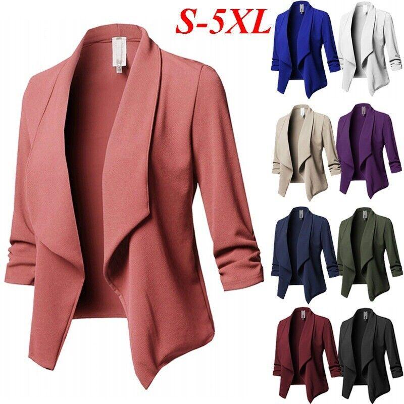 Womens Waterfall Cardigan Blazer Ladies 3/4 Sleeve Casual Work Suit Jacket Coat
