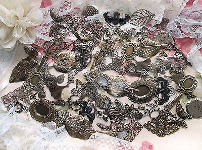 30 x SILVER TONE,BRONZE TONE AND METAL TONE EMBELLISHMENTS / CHARM MIX.