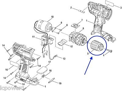 270016163 Ryobi P208B Drill Driver Switch Assembly