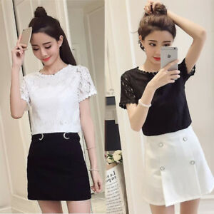 f8c2a140f63ce Details about New Fashion Summer Lace Short Sleeve Korean Women Slim Casual  Shirt Blouse Tops