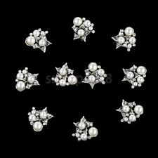 10pcs Pearl Rhinestone Flat Back Buttons Glue on Embellishments for Crafts