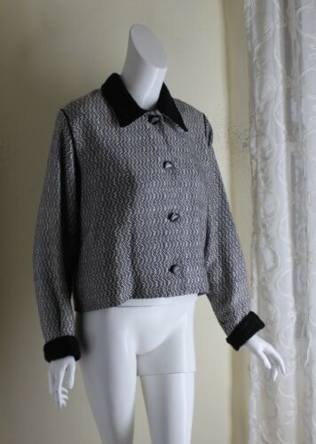 Barbara Perry -Sz S M Black White Hand Woven Tweed Blazer Jacket