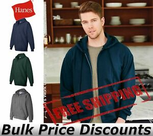 Hanes-Mens-Blank-Ultimate-Cotton-Full-Zip-Hooded-Sweatshirt-F280-up-to-3XL