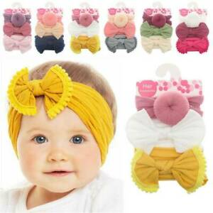 3Pcs-Infant-Baby-Girl-Bow-Stretch-Headbands-Toddler-Turban-Knot-Hair-Band-Gifts