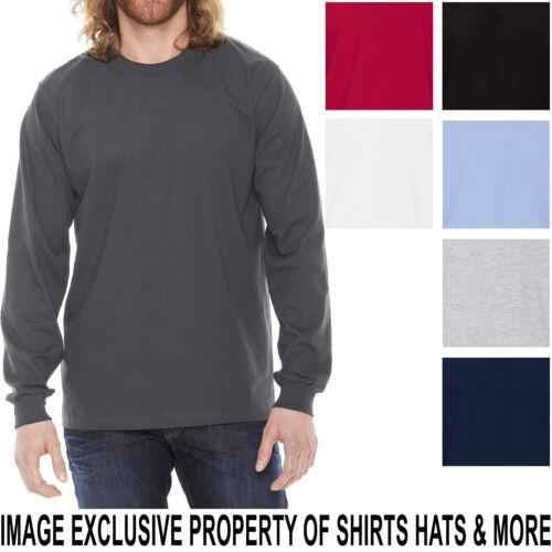 American Apparel Mens Long Sleeve T-Shirt Fine Jersey PRESHRUNK Cotton Tee S-2XL