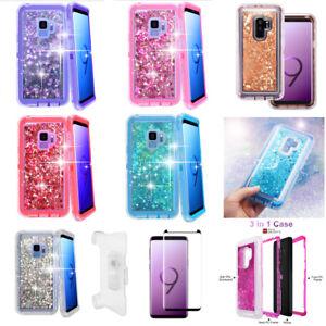 Lot-For-Samsung-Galaxy-S9-Defender-Liquid-Glitter-Case-amp-Clip-fit-Otterbox