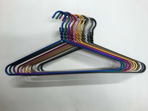 72PACK COLORFUL THICK METAL Garment Clothes Hanger Anodized Aluminum MADE IN USA