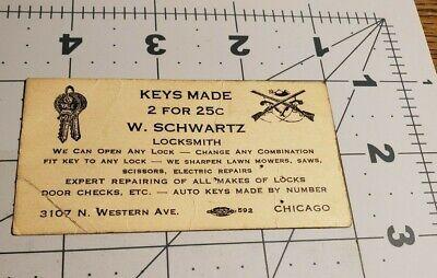 1930 S W Schwartz Locksmith Business Card Chicago Illinois Ebay