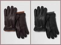 Lands' End Water Resistant Leather Commuter Gloves Men's $65 Nip