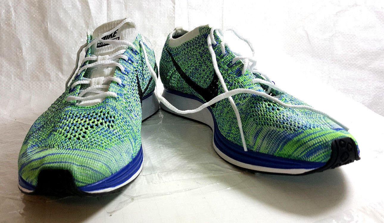 Nike flyknit racer Uomo 12 blu / verde delle scarpe da ginnastica con tessuto nwob