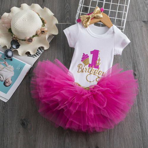 Little Princess Floral Unicorn Dress For Baby Girls 1 Year Birthday Dress Cake