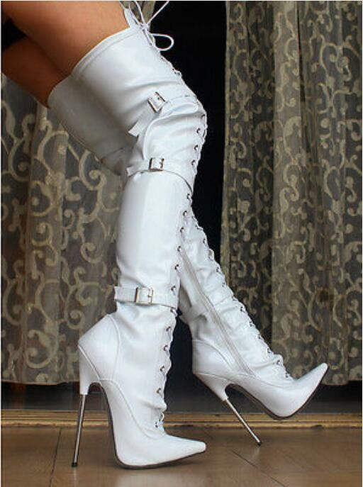 16 CM High Heel Women Pointed Toe Over Knee Knight Buckles Boot Buckles Knight Pole dance Shoes a4e4a6