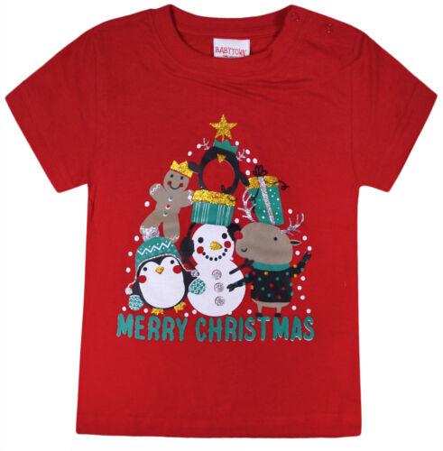 Bebé Niñas Niños Navidad T Shirts Kids Xmas Top Rojo Azul Marino Edad 3-24 meses
