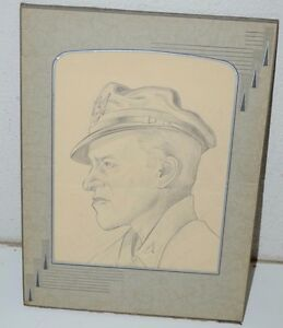 WWII-Pilot-USAF-US-Army-Drawing-Vintage-1945-Signed-Pencil-Art-RARE
