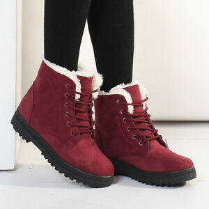 Winter Women's Lace Up Snow Boots Waterproof Warm Fur Lined Suede Flat Short Boots