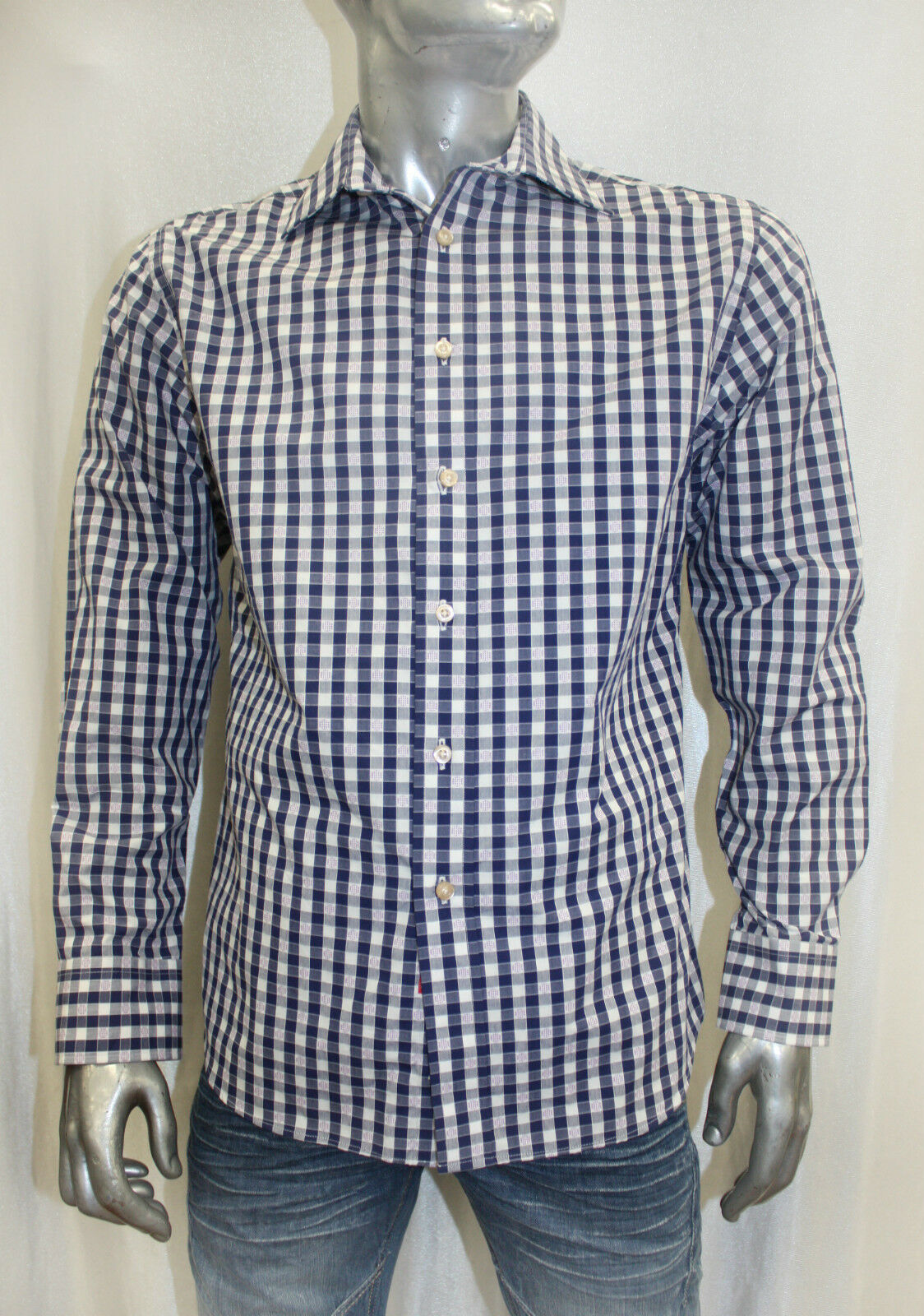 Men's Rufus Plaid Navy   White   Lavander Button Down Shirt