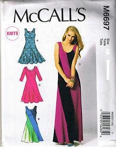 Stretch Knit Color Block Pullover Dress McCalls Sewing Pattern Sz 14 16 18 20...