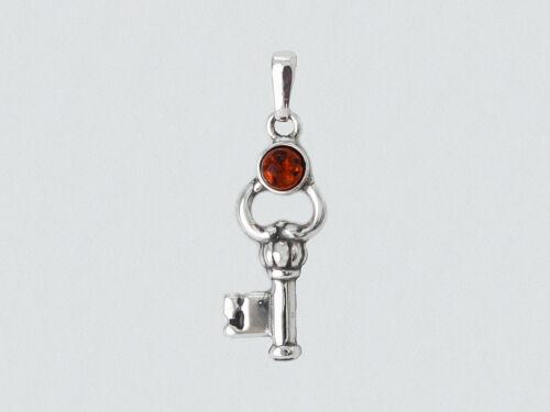 Pendentif clé clef ambre véritable baltique argent 925//1000e PE102