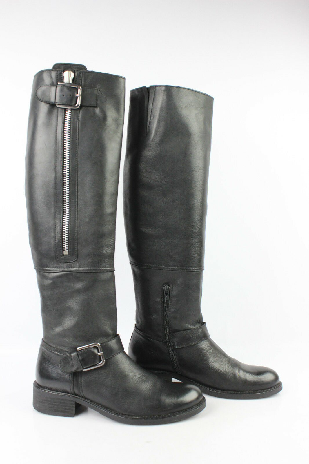 Boots High Style Biker MURATTI Black Leather T 36 VERY GOOD CONDITION